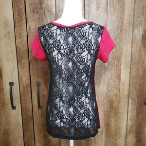PINK Victoria's Secret Tops - PINK Black Lace Back T Shirt *NWT* Size XS